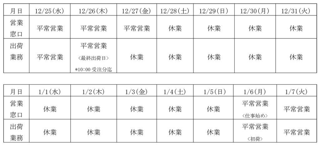 2019-2020年末年始営業日