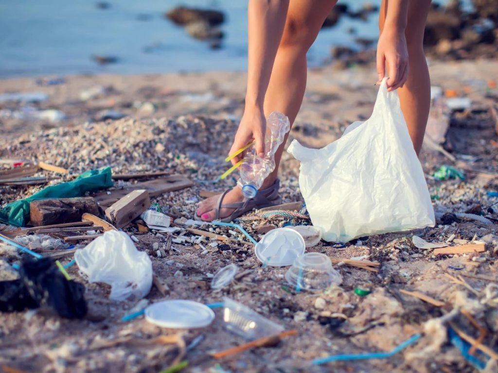 海岸に漂着したプラスチックごみ